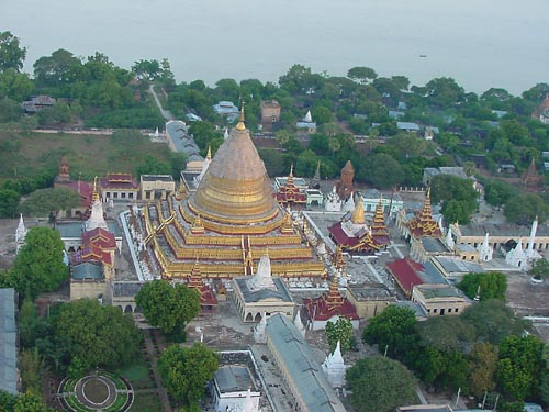 Pagoda from a hot air balloon in Bagan, Myanmar