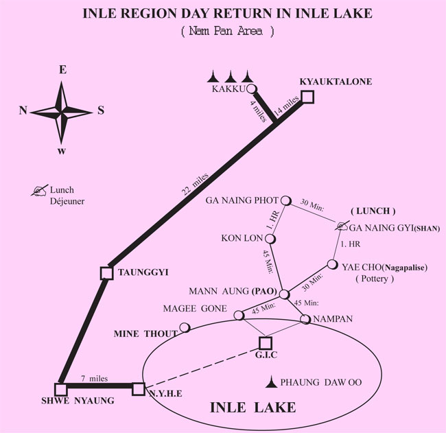 map trek nam pan day return inle lake