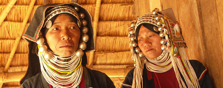 Women from Akkha Ethinic group in their village near Kentung (golden triangle)