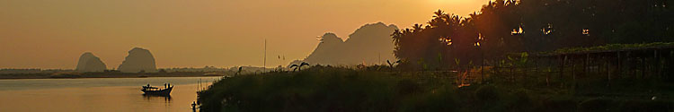Sunset from a boat going to Hpa An