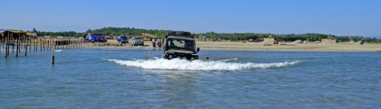 river crossing with our Defender on the way to Chin Hills